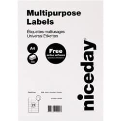 Niceday Multipurpose Labels A4 White 42.3 x 70 mm 100 Sheets of 21 Labels
