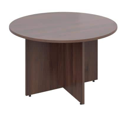 Dams International Circular Meeting Room Table with Walnut Coloured MFC & Aluminium Top and White Frame RT12W 1200 x 1200 x 725 mm