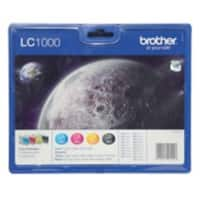 Brother LC1000 Original Black & 3 Colours Ink Cartridge LC-1000VALBP