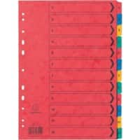 Exacompta Indices Numeric A4 Assorted 12 Part Perforated Card 1 to 12