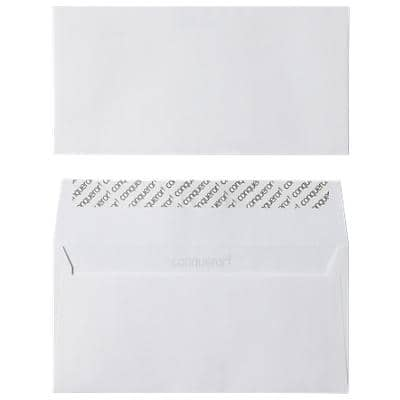 Conqueror DL Envelopes 220 x 110 mm Peel and Seal Plain 120gsm High Wove Smooth White Pack of 500