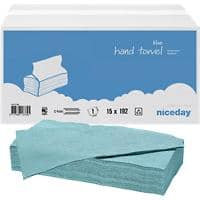 Niceday Hand Towels Blue C-fold 1 Ply Paper 15 Sleeves of 192 Sheets