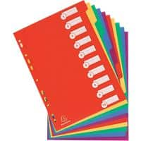 Exacompta Dividers 4810E A4+ Assorted 10 tabs 4 holes plastic blank