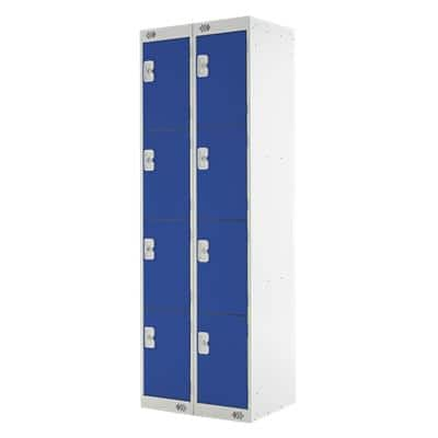 LINK51 Standard Mild Steel Locker with 4 Doors Standard Deadlock Lockable with Key 2 300 x 450 x 1800 mm Grey & Blue