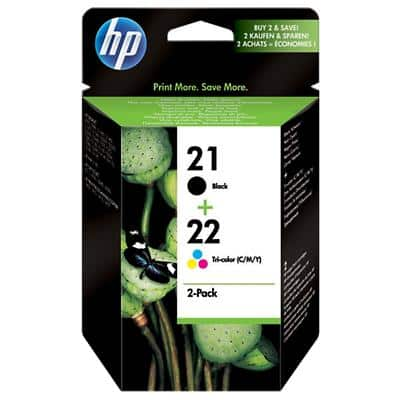 HP 21/22 Original Ink Cartridge SD367AE Black & 3 Colours Pack of 2