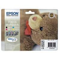 Epson T0615 Original Ink Cartridge C13T06154010 Black & 3 Colours Pack of 4