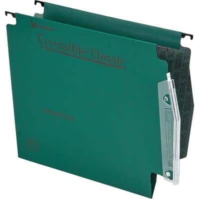 Rexel Crystalfile Classic 275 Lateral Suspension File 78652 V Base 15 mm 230 gsm Green 100% Recycled Manilla Pack of 50