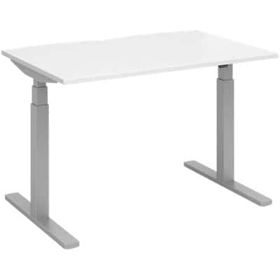 Elev8 Rectangular Sit Stand Single Desk with White Melamine Top and Silver Frame 2 Legs Touch 1200 x 800 x 675 - 1300 mm