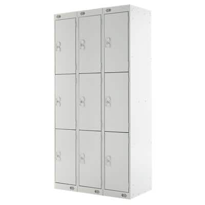 LINK51 Standard Mild Steel Locker with 3 Doors Standard Deadlock Lockable with Key 3 300 x 450 x 1800 mm Grey