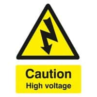 Warning Sign Caution High Voltage Self Adhesive PVC 15 x 20 cm
