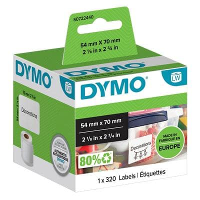 DYMO LW S0722440 Multipurpose Labels, Authentic, Self Adhesive, White 54 mm x 70 mm, 320 Labels