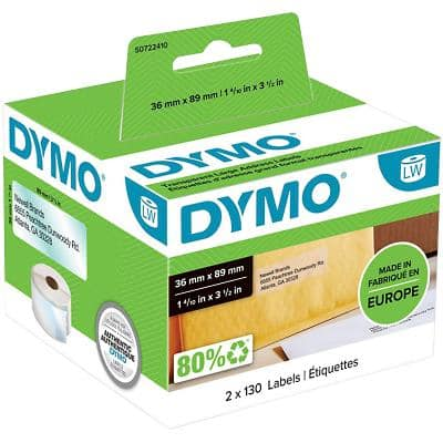 DYMO LW Address Labels 99013 Black on Clear Self Adhesive 36 mm x 89 mm 260 Labels