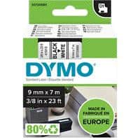 DYMO D1 40913 Label Tape, Authentic, Self Adhesive, Black Print on White 9 mm x 7 m