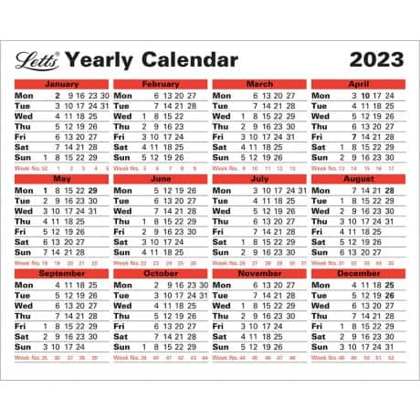 Letts Yearly Calendar 5-TYC 2019