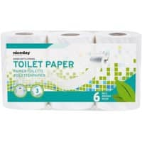 Niceday Professional Toilet Rolls Standard 3 Ply 6 Rolls of 200 Sheets