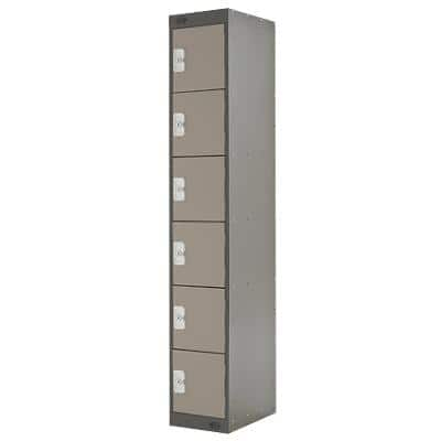LINK51 Standard Mild Steel Locker with 6 Doors Standard Deadlock Lockable with Key 300 x 450 x 1800 mm Coffee & Cream