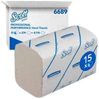 Scott Hand Towels Performance 1 Ply M-fold White 274 Sheets Pack of 15