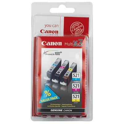 Canon CLI- 521 C/M/Y Original Ink Cartridge Cyan, Magenta, Yellow 3 Pieces