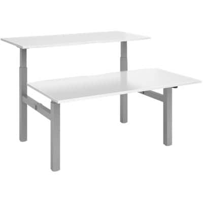 Elev8² Sit Stand Back to Back Desk with White Melamine Top and Silver Frame 4 Legs Mono 1650 x 1600 x 675 - 1175 mm