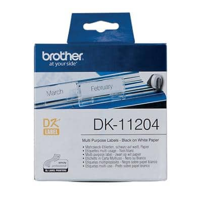 Brother DK-11204 Multi-purpose Labels, Authentic, Self Adhesive, Black Print on White 17 mm x 54 mm, 400 Labels