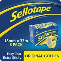 Sellotape Tape Original Golden 18 mm x 33 m Transparent 8 Rolls