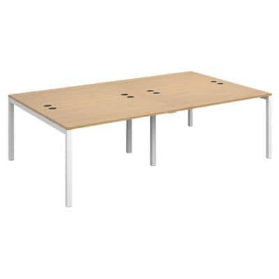Dams International Rectangular Double Back to Back Desk with Oak Coloured Melamine Top and White Frame 4 Legs Connex 2400 x 1600 x 725mm