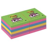 Post-it Super Sticky Notes 76 x 76 mm Rainbow Assorted Colours 12 Pads of 90 Sheets