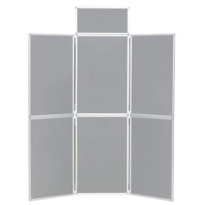 Freestanding Display Stand with 6 Panels Nyloop Fabric Foldaway 619 x 316 mm Grey
