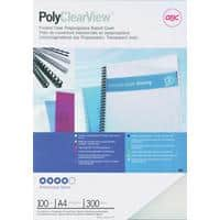GBC PolyClearView Binding Covers A4 Polypropylene 300 Microns Transparent Pack of 100