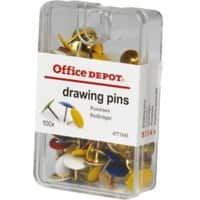 Office Depot Drawing Pins Assorted Colours (100/bx)