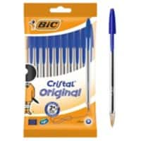 BIC Cristal Original Ballpoint Pen Medium 0.4 mm Blue Pack of 10