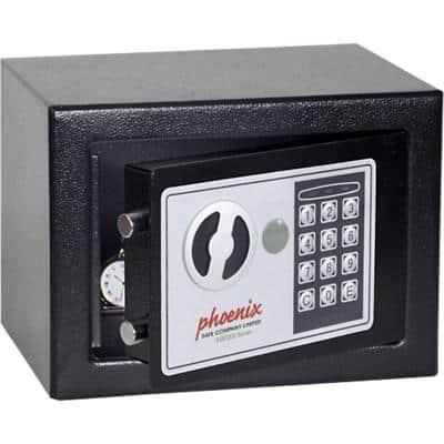 Phoenix Security Safe with Electronic Lock Compact Home Office SS0721E 230 x 170 x 170mm Black
