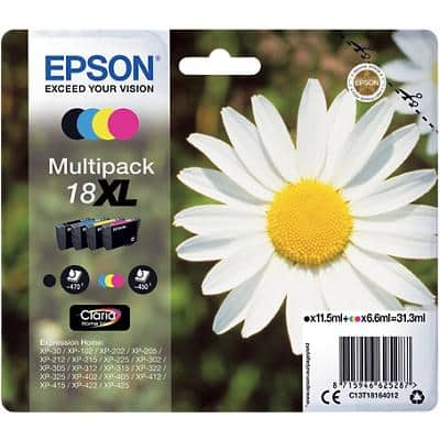 Epson 18XL Original Ink Cartridge C13T18164012 Black & 3 Colours Pack of 4