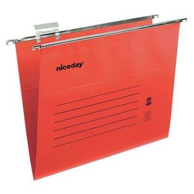 Niceday Vertical Suspension File Foolscap V Base 220gsm Red Pack of 50