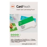 GBC Laminating Pouches Glossy 2 x 250 (500 Micron) ID 54 x 86 mm Pack of 100