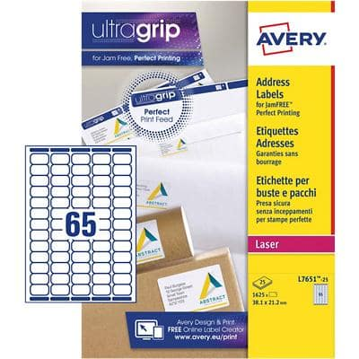 Avery L7651-25 Mini Address Labels A4 White 38.1 x 21.2 mm 25 Sheets of 65 Labels