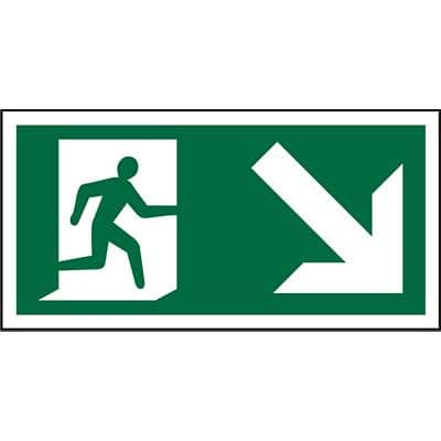 Fire Exit Sign Down Right Arrow PVC 30 x 15 cm