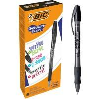 BIC Gel-ocity illusion Retractable Rollerball Pen Erasable Medium 0.4 mm Black Pack of 12