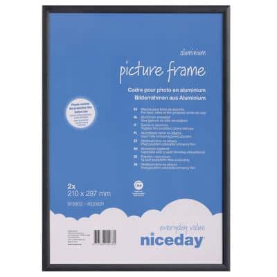 Niceday Wall Mountable Picture Frame 978906 A4 297 x 210 mm Black Pack of 2