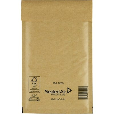 Mail Lite Mailing Bags B/00 79gsm Gold Plain Peel and Seal 210 x 120 mm 100 Pieces