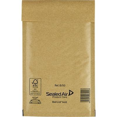 Mail Lite Padded Envelopes B/00 120 (W) x 210 (H) mm Peel and Seal Gold Pack of 100