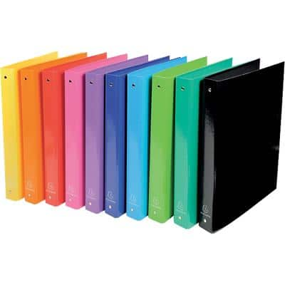 Exacompta Ring Binder 40 mm Glossy Polypropylene 4 ring A4 Assorted 10 Pieces