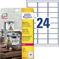 Avery L4773-20 Heavy Duty Labels A4 White 63.5 x 33.9 mm 20 Sheets of 24 Labels