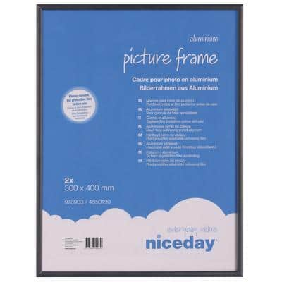Niceday Wall Mountable Aluminium Frame 978903 A3 300 x 400 mm Black Pack of 2