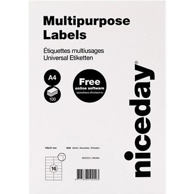 Niceday Multipurpose Labels Self Adhesive 105 x 37 mm White 100 Sheets of 16 Labels