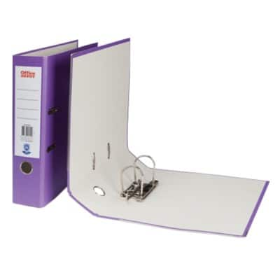 Office Depot Lever Arch File Purple A4 2 Ring Paper on Board 75 mm Spine