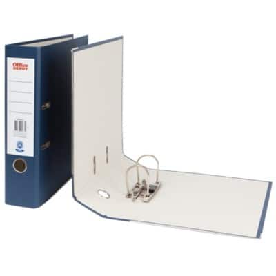 Office Depot Lever Arch File Dark Blue A4 2 Ring Paper on Board 75 mm Spine