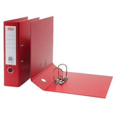 Office Depot Lever Arch File 80 mm Polypropylene 2 ring A4 Red