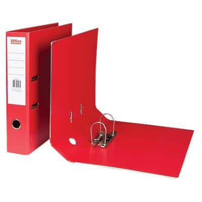 Office Depot Lever Arch File 80 mm Polypropylene 2 ring A4+ Red