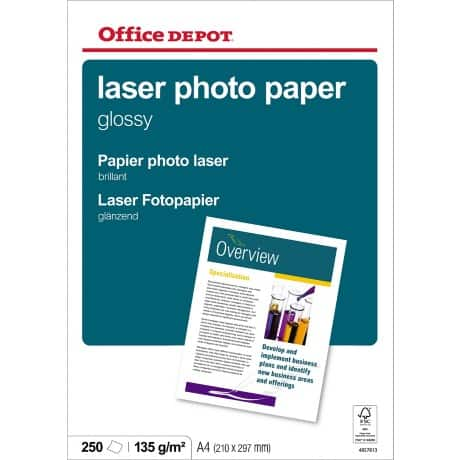 Office Depot A4 Laser Gloss Photo Paper 135gsm 250 Sheets Per Pack